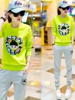 Pre Order ชุดออกกำลังกายสไตล์เกาหลี เสื้อแขนยาวสกรีนลายการ์ตูน+กางเกงขายาว มี4สี