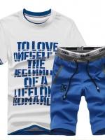 Pre Order ชุดออกกำลังกายใส่สบาย เซ็ทเสื้อยืดแขนสั้นสกรีนลาย+กางเกงขาสามส่วน มี4 สี