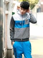 Pre Order ชุดวอร์มเกาหลี แนว Sport ดีไซส์ลาย Strip มีฮู้ด เสื้อแขนยาว+กางเกงขายาว มี2สี