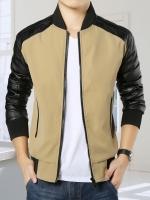 Pre Order เสื้อแจ็คเก็ตผู้ชายแฟชั่นเกาหลี แขนยาวแต่งหนังPU ดีไซน์คลาสสิก มี3สี