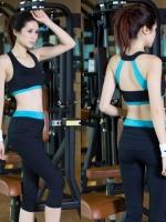 Pre Order ชุดโยคะ ออกกำลังกาย สปอร์ตบราเรียบหรู+กระโปรงแต่งกางเกงรัดรูป มี3สี