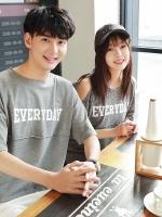 ชุดคู่รักสีเทาเกาหลี EVERYDAY เสื้อยืด+เดรสยาว