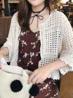 Pre Order เสื้อคลุมคาร์ดิแกนถักแฟชั่นเกาหลี สีพื้น แนววินเทจ มี5สี
