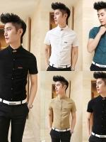 Pre Order เสื้อเชิ้ตผู้ชายสไตล์เกาหลี เสื้อแขนสั้นคอตั้ง กระเป๋าแต่งขอบหนัง มี5สี