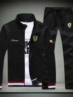 **พร้อมส่ง**ชุดออกกำลังกาย เสื้อแขนยาวแต่งลาย Ferrari+กางเกงขายาวดีไซน์สปอร์ต สีดำ ไซส์ XL