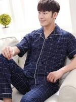 Pre Order ชุดนอนชาย ดีไซน์เท่ห์ เสื้อคอปกแขนสั้นลายตาราง+กางเกงขายาว สีตามรูป