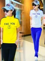Pre Order ชุดวอร์มแนวเกาหลี เสื้อแขนสั้นคอปก สกรีนลาย FASHION 7+กางเกงขายาว มี4สี