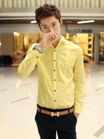 Pre Order เสื้อเชิ้ตผู้ชาย แขนยาว ทรงเข้ารูป แนวเกาหลี มี4สี