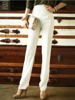 Pre Order กางเกงขายาวเอวสูงสไตล์ Retro แบรนด์ MEESLAN ดีไซน์หรู แต่งกระเป๋าด้านหลังและซิปข้าง มี3สี