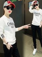 Pre Order ชุดวอร์มเกาหลี เสื้อคอกลมแขนยาว สกรีนลาย CHANAL+กางเกงขายาว มี4สี