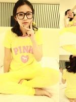 ++สินค้าพร้อมส่งค่ะ++ชุดนอนแฟชั่นเกาหลี เสื้อคอกลม แขนสั้น สกรีน PINK+กางเกงขายาว ผ้า cotton modal เนื้อบางค่ะ นิ่มค่ะ – สีเหลือง