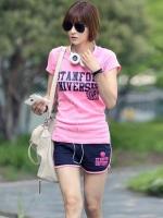 Pre Order ชุดออกกำลังกายแนวเกาหลี เสื้อยืดแขนสั้นสกรีนลาย+กางเกงขาสั้น มี2สี