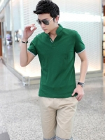 เสื้อโปโลแขนสั้นเกาหลี Laiso สีเขียว แต่งคอปกตั้ง ดีไซน์ขอบ
