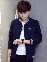 **พร้อมส่ง**เสื้อแจ็คเก็ตแฟชั่นเกาหลี แขนยาว คอปก แต่งกระเป๋าซิป ดีไซน์เท่ห์ สำหรับคนรูปร่างใหญ่ สีน้ำเงินเข้ม ไซส์ 4XL