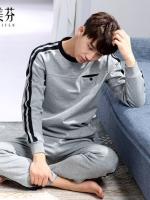ชุดนอนเกาหลี แต่งกระเป๋าเสื้อ เสื้อแขนยาว+กางเกงขายาว มี2สี