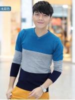 Pre Order เสื้อสเวตเตอร์ถักคอวีเทรนด์เกาหลี แขนยาวแต่งลายทางสลับสี มี5สี