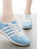 **พร้อมส่ง** รองเท้าผ้าใบแฟชั่น ใส่ออกกำลังกายแต่งลายคาด เทรนด์เกาหลี สีฟ้า เบอร์ 38