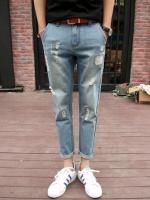 Pre Order กางเกงยีนส์ขาเดฟแนวเกาหลี แต่งรอยขาดสุดเท่ห์ สีตามรูป