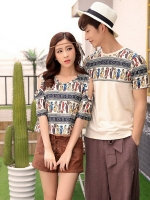 ชุดคู่รักเกาหลี สีตามรูป แต่งรูปแมว ดีไซน์เก๋ เสื้อยืด+เสื้อแฟชั่นเว้าไหล่