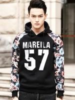 เสื้อฮู้ดแขนยาวสีดำเกาหลี แต่งแขนเสื้อลายดอกไม้ แนวเบสบอล