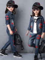 Pre Order ชุดยีนส์เด็กแฟชั่นเกาหลี เสื้อแจ็คเก็ตยีนส์แขนยาวปักลาย+กางเกงขายาว สีตามรูป