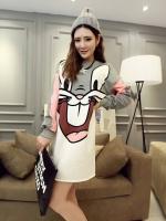 Pre Order ชุดนอนผ้ายืดแฟชั่นเกาหลี แขนยาวคอกลม ลาย Bugs Bunny น่ารักๆ มี2สี