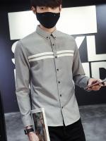 Pre Order เสื้อเชิ้ตแขนยาวสุดเท่ห์ แต่งลายคาดอก แนวเกาหลี มี3สี