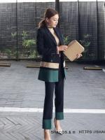 Pre Order ชุดสูทแฟชั่นเกาหลี ทรงสวย ดีเทลเก๋ มีสไตล์ เสื้อ+กางเกงขายาว