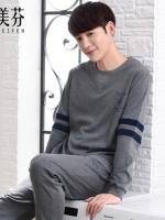 ชุดนอนเกาหลี แต่งแถบเส้น เสื้อแขนยาว+กางเกงขายาว มี2สี