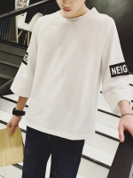 Pre Order เสื้อยืดสไตล์เกาหลี แขนห้าส่วนคอกลม แต่งลายที่แขนและด้านหลัง มี2สี