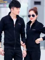 Pre Order ชุดวอร์มสไตล์เกาหลี เสื้อแจ็คเก็ตแขนยาว+กางเกงขายาว มี3สี