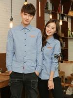 Pre Order เสื้อเชิ้ตคู่รักแฟชั่นเกาหลี แขนยาวแต่งลายคอปก กระเป๋าแต่งขอบหนัง สีตามรูป