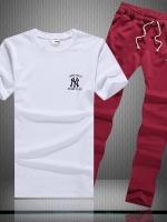 Pre Order ชุดออกำลังกายแนวสปอร์ต เสื้อยืดคอกลมลาย NY+กางเกงขายาว มี3สี