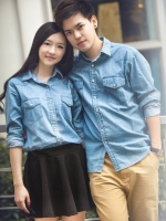 Pre Order เสื้อเชิ้ตยีนส์คู่รักแฟชั่นเกาหลี แบรนด์ Taiai เสื้อแขนยาวคอปก แต่งกระเป๋าหน้าสองข้าง