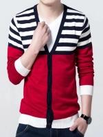 Pre Order เสื้อสเวตเตอร์ถักแฟชั่นเกาหลี แขนยาวแต่งลายขวาง ดีไซน์เท่ห์ มี4สี