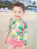ชุดว่ายน้ำเด็กเกาหลี แขนยาว พิมพ์ลายดอกไม้ทั้งตัว แต่งกระโปรงระบาย น่ารัก มี2สี