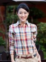 Pre Order เสื้อเชิ้ตลายสก๊อตผู้หญิง สไตล์เกาหลี แขนยาวคอปก ปักลายที่หน้าอก มี4สี