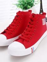 Pre Order รองเท้าผ้าใบเทรนด์เกาหลี แต่งลายธงชาติ USA ดีไซน์เท่ห์ มีเชือกผูก มี4สี