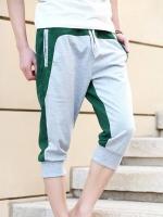 Pre Order กางเกงวอร์มผู้ชาย ดีไซน์สีทูโทน ขาสามส่วน มีเชือกผูกเอว มี3สี