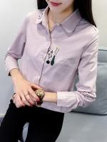 Pre Order เสื้อเชิ้ตสไตล์เกาหลีแขนยาว คอปก ทรงเข้ารูป แต่งลายปัก มี3สี