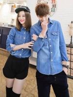 Pre Order ชุดคู่รักเกาหลี เสื้อแจ็กเก็ตยีนส์แขนยาว แต่งกระเป๋าเสื้อ ดีไซส์ขอบแขน <มี3สี>