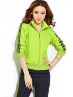 Pre Order ชุดวอร์มเกาหลีสีเขียวเรืองแสง เสื้อแจ็คเก็ตแขนยาวคอปก แต่งแถบสี+กางเกงขายาว
