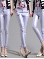 Pre Order กางเกงสกินนี่แฟชั่นเกาหลี ผ้าสีมุกเงาสวย แต่งลูกไม้เก๋ๆที่ปลายขา มี5สี