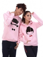Pre Order เสื้อกันหนาวคู่รักแฟชั่นเกาหลี แขนยาว มีฮู้ด พิมพ์ลายการ์ตูน สีชมพู