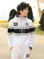 Pre Order ชุดวอร์มแนว Sport เป็นเสื้อแขนยาว แต่งลายคาดหน้าอก มีฮู้ด+กางเกงขายาว <มี3สี>