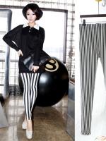 ++สินค้าพร้อมส่งค่ะ++กางเกงแฟชั่น legging ขายาวเกาหลี ผ้า Stretch large ยืดหยุ่นดีมาก ลายริ้ว สไตล์ harajuku – สีขาว/ดำ