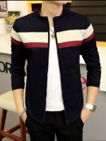 Pre Order เสื้อแจ็คเก็ตชายแฟชั่นเกาหลี แขนยาว คอตั้ง แต่งแถบคาดหน้าอก มี4สี