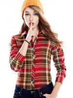 Pre Order เสื้อผู้หญิงลายสก๊อตสไตล์เกาหลี เสื้อแขนยาวคอปก ลุคสาวมั่น มี4แบบ