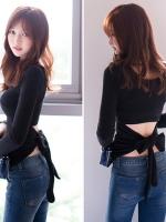 เสื้อแฟชั่นแขนยาวเกาหลี สีดำ แต่งผูกโบว์ด้านหลัง