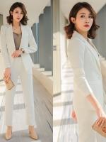 Pre Order ชุดสูทแฟชั่นเกาหลีเข้ารูป เสื้อแขนยาว แต่งกระดุมเม็ดเดียว+กางเกงขายาว มี2สี